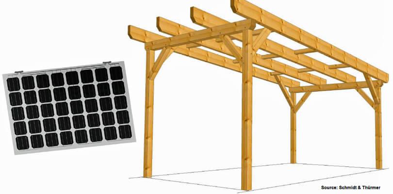 Solceller integreret i carport